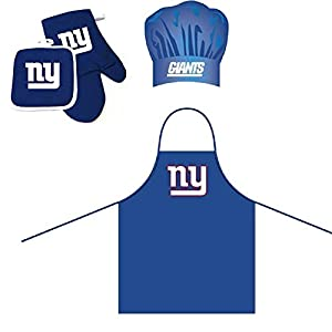 Pro Specialties Group NFL New York Giants Team Logo Barbeque Apron, Chef's Hat and Pot Holder Deluxe Set