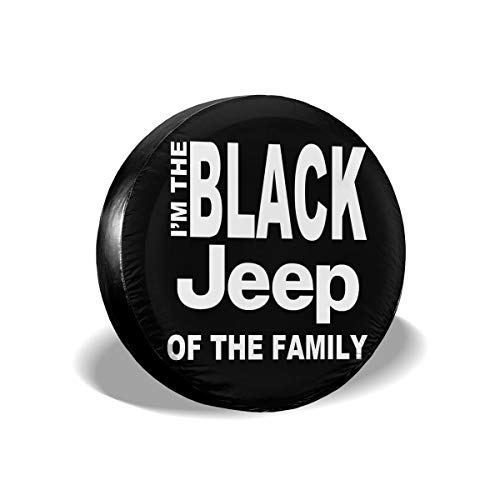 """NHSJ Weatherproof Tire Protectors Spare Tire Cover Universal Fit for Jeep, Trailer, RV, SUV, Truck and Many Vehicle (I Am The Black Jeep of The Family, 16"""" for Diameter 29""""-31"""")"""