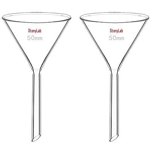 StonyLab 2 Stück Glastrichter Labor Borosilikatglas Trichter, Glass Funnel 50mm Durchmesser, 50mm Stiellänge, Borosilicate Labortrichter