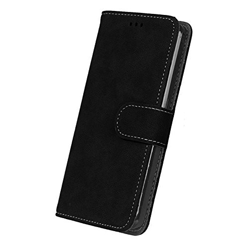 Caselover Funda bq Aquaris E5s,Carcasa bq Aquaris E5 4G LTE, Piel PU Suave Flip Folio Carcasa para BQ E5s / E5 4G LTE con TPU Silicona Case Cover Bumper Leather Caja - Negro
