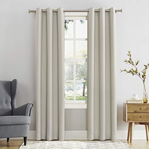 "Sun Zero Easton Blackout Energy Efficient Grommet Curtain Panel, 40"" x 95"", Pearl"