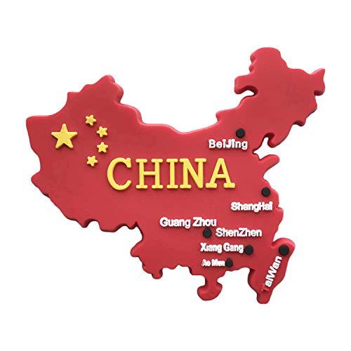Wedare Chinese Map 3D Fridge Magnet,China Red Flag Tourist Souvenirs,Hand-Made Home Refrigerator Sticker Decoration