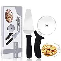 aiface 2 in 1 Rotella Tagliapizza, Paletta per Torta, Pizza Cutter Set Acciaio Inossidabile, Pizza Accessori per Pizza, Torte e Pie