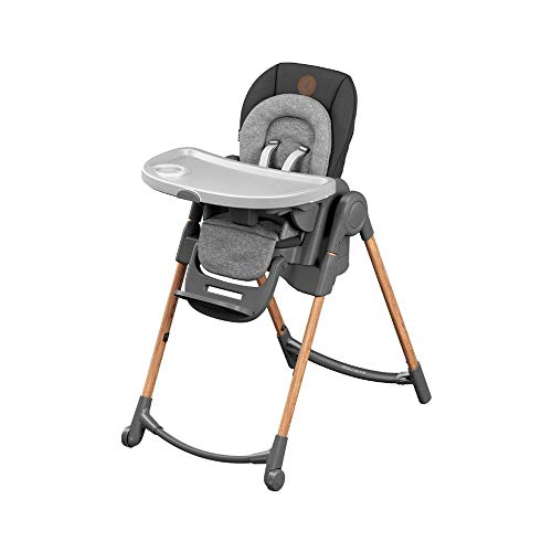 Maxi-Cosi Minla trona Evolutiva, reclinable y plegable, 6 en 1 trona convertible, silla para niños, trona portátil de viaje e Asiento Elevador, crece con el niño 0 meses - 7 años, essential graphite