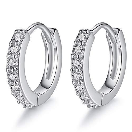Kleine Creolen Damen Ohrringe 925 Sterling Silber Creolen Ohrringe Weiß Zirkonia Durchmesser Unisex Schlafen Knorpel Kreolen für Frau Mädchen -1 Paar