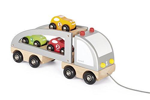 Janod J05603 - Auto-Transporter Mit Ladung (3 Autos) Zum Ziehen