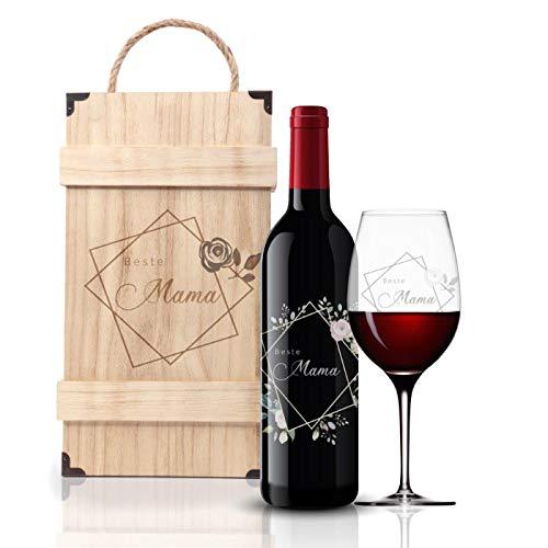 FORYOU24 Premium Weinbox Beste Mama mit Leonardo Weinglas Gravur und Weinflasche