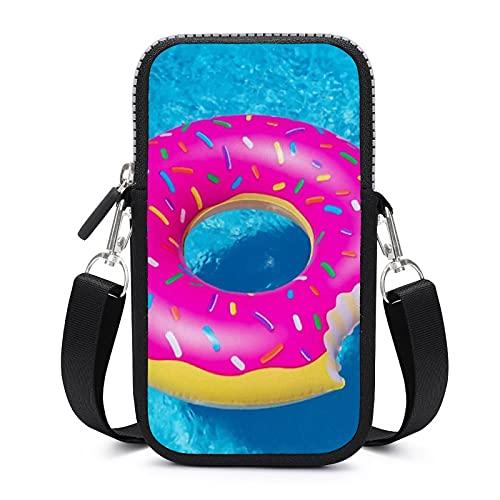 Bolso bandolera para teléfono móvil con correa de hombro extraíble, Donuts piscina resistente al desgaste Funda para teléfono muñeca cartera Running Bolsas hombres