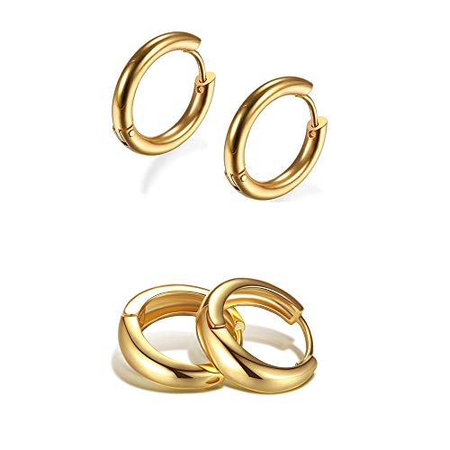 Set Chunky Round Open Hoop Stud Earrings Set for Women Girl Gifts Jewelry Hypoallergenic Earrings Minimalist Gold Plated Silver Cute Lightweight Clip On No Piercing Fake-Thin Thick Gold