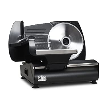 Elite Gourmet EMT-503B Maxi-Matic 130 Watt Die-Cast-Aluminum Electric Food Slicer, Black