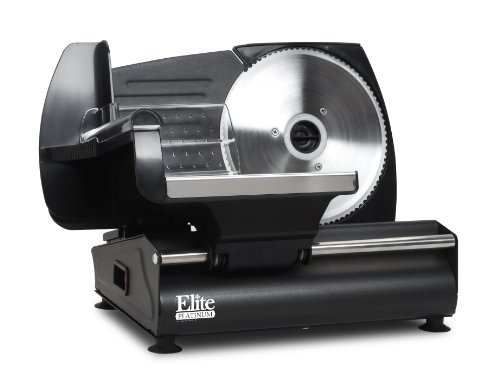 Maxi-Matic EMT-503B Elite Platinum Ultimate Precision Electric Deli Food Meat Slicer, Removable Stainless Steel Blade, Adjustable Thickness, Ideal for Cold Cuts, Hard Cheese, Vegetables, 7.5, Black