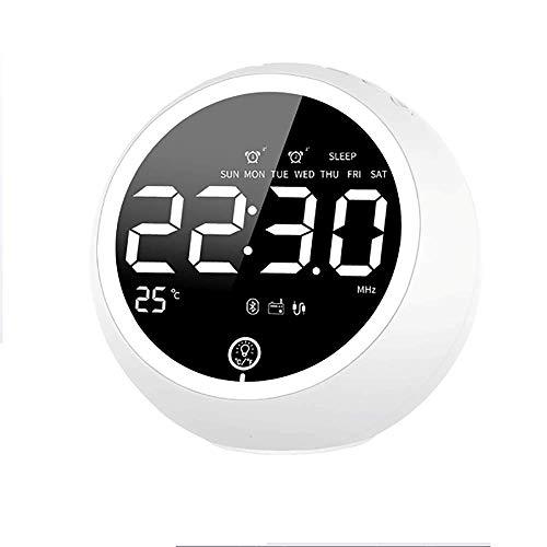 Alarm Clock, Twee USB-Oplader Wekker Met Snooze-TF-Kaartsleuf En FM-Radio Heavy Sleepers Bluetooth Speakers Wekker Voor Thuis,White