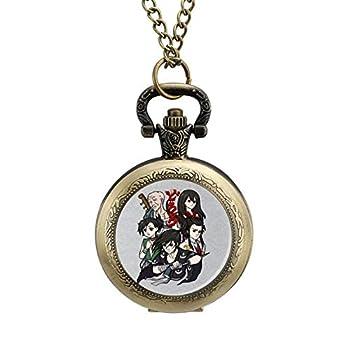 ZHENGJC Dororo Characters Wearable Metal Necklace Pocket Watch Digital Scale Personalized Pattern Pocket Watch
