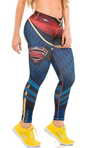 Fiber Mallas de mujer para yoga, con diseño de súper héroe, de compresión