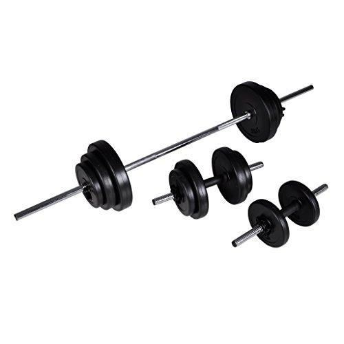 Festnight Set Bilanciere con manubri e Pesi 30.5Kg Allenamento Muscolare Fitness
