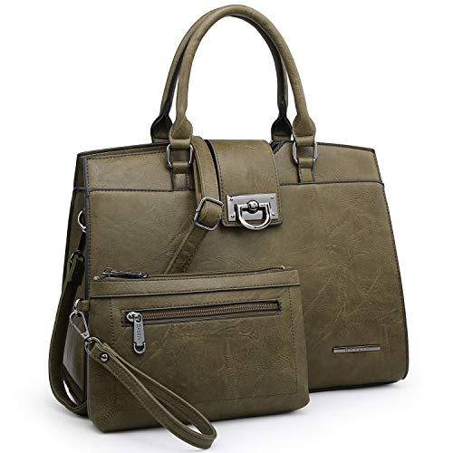 Dasein Women Satchel Purses Handbags Monogrammed Shoulder Bags for Lady Work Tote Bags with Matching Clutch (solid green)