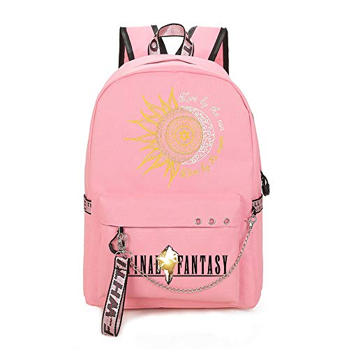 Live by The Sun Love by The Moon Handsome Backpack Basic Daypack Waterproof Schoolbag for Boys and Girls (Color : PINK02, Size : 30 X 13 X 43cm)