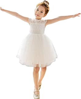 Bow Dream Little Girl Lace Flower Girl Dresses Wedding Party Easter First Communion 2T to 12 Years Old
