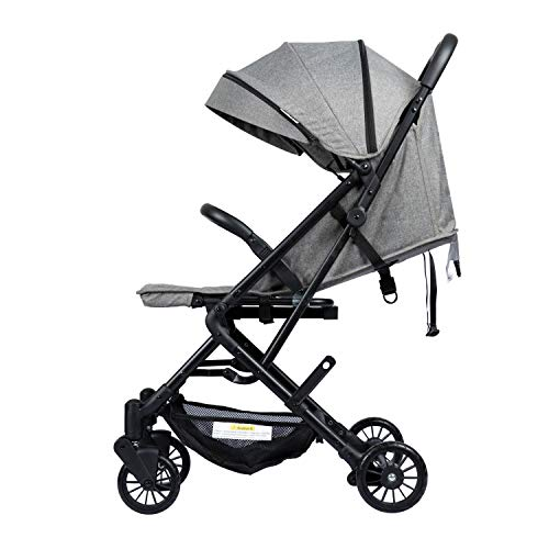 Amgo Lightweight Infant Baby Stroller with Quick Compact Fold, Cup Holder, Four Wheels Suspension, Gray