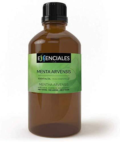 Essenciales - Aceite Esencial de Menta Arvensis/Menta Japonesa, 100% Puro, 100 ml | Aceite Esencial Mentha Arvensis 100% Puro