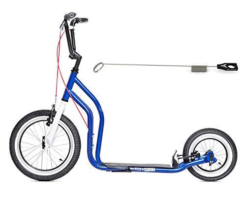 Yedoo Dogscooter Tretroller City New London 16/12 Zoll Limited Edition blau mit Antenne für Leinenführung