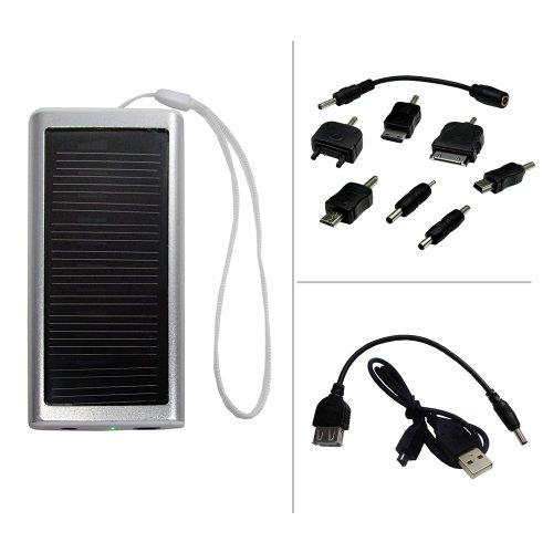 digibuddy Powerbank mit Solarunterstützung für Nokia 3510i;optimal für unterwegs, mit Adapter für Nokia, Samsung, Mini-USB, Micro USB