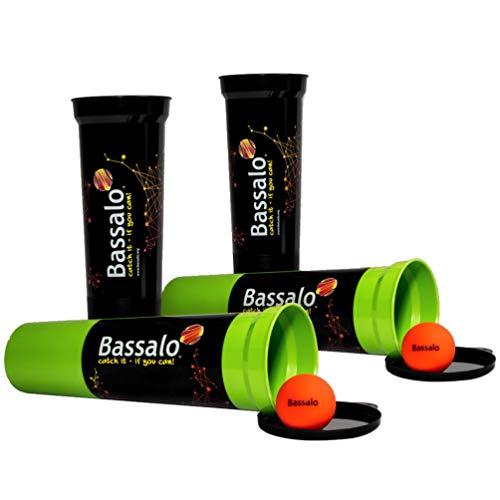 BASSALO Cupball 4er Familien Set - Sport Spiel für Kinder und Erwachsene - 4 Becher, 2 Spielbälle, Spielanleitung