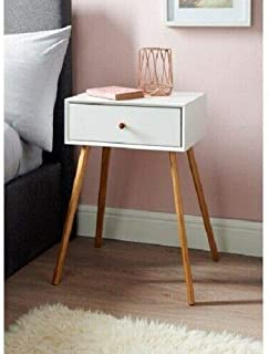 FidgetKute New Sleek & Stylish Bjorn Bedside Table White/Stone With Contemporary Design White One