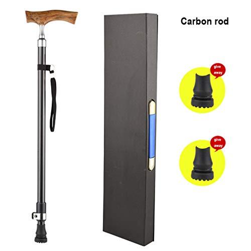 NYPB Gehstock Verstellbarer Spazierstock mit Handgearbeitetem Holzgriff Ultraleicht Aluminium/kohlefaser,Old Man rutschfeste Krücke,Geschenk für ältere Menschen,Carbon