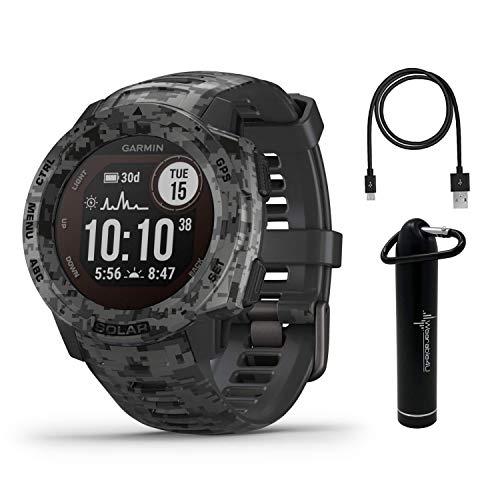 Garmin Instinct Solar Sportsman Camo Edition Premium GPS Smartwatch with Included Wearable4U Power Bank Bundle (Graphite Camo)