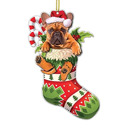 Crazytops Funny French Bulldog Brown Christmas Tree Ornament - French Bulldog Brown Lovers Gift Idea Xmas Decor - 2 Side Printed - Cute French Bulldog Brown Christmas Tree Socks
