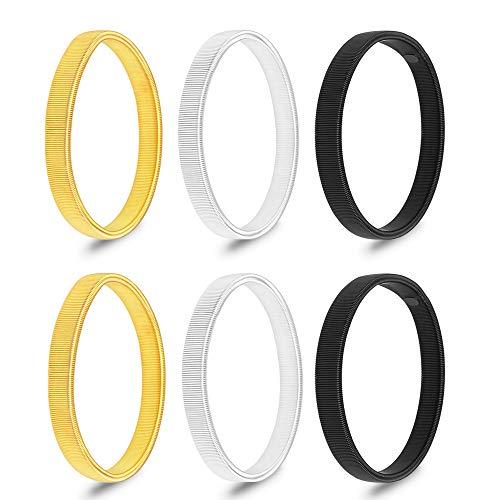 LYTIVAGEN 3 Paar Anti Rutsch Armband Ärmelhalter Sleeve Holders zum Fixieren von langen Ärmeln (Silber,Gold, Schwarz)