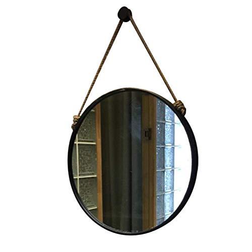 HLWJXS Espejo Cáñamo Cuerda Colgando Redondo M Negro Baño Maquillaje Casero Decorativo Pared Creativa Moda,Diámetro 60 cm
