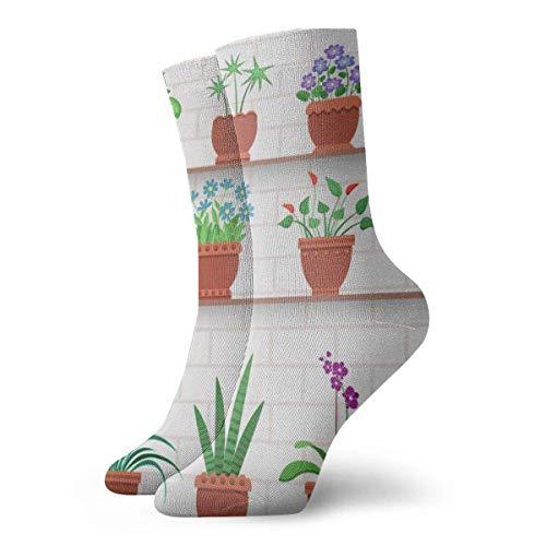 Sunny R Plantas de interior en estantes pegadas a la pared de ladrillo Calcetines deportivos acolchados para correr, deportivos, cómodos para el trabajo, 30 cm