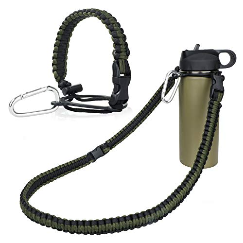 WEREWOLVES Paracord Handle with Shoulder Strap - Fits Wide Mouth Water Bottles 12oz to 64oz - Durable Carrier, Water Bottle Handle Strap with Safety Ring, Compass and Carabiner (ArmyGreen)