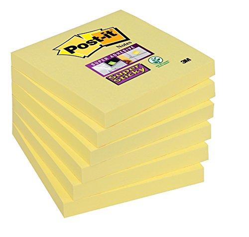 Post-it, Farbige Haftnotizen, 6er Pack Sticky Notes, Bunte Klebezettel und Haftnotizzettel, Selbstklebende Notizzettel für Büro und Studenten, 6 Blöcke à 90 Post-Its, 76 x 76 mm