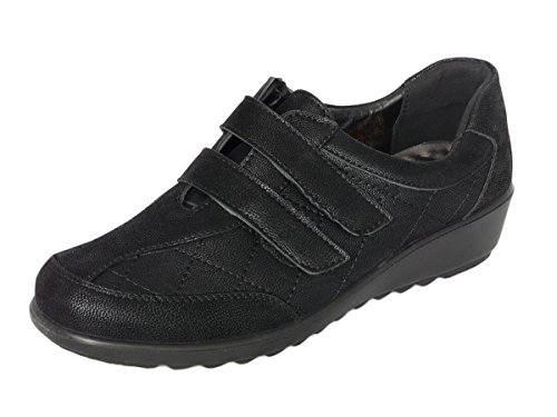 Cushion Walk Women's Ladies Lightweight Black Touch Fastening or Zip Low Wedge Shoes, Casual Work Office Comfort Shoes (8 UK 42 EU, Black Touch Fastening)