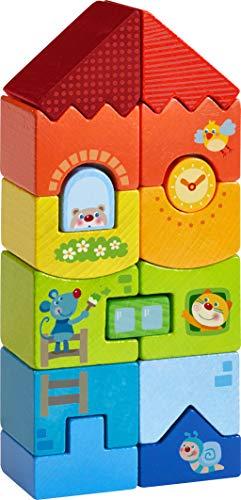 HABA 303708 - Stapelspiel Tier-Hochhaus |Bunter Turm aus 15 Stapelseteinen in Regenbogenfarben mit lustigen Tiermotiven | Holzspielzeug ab 18 Monaten