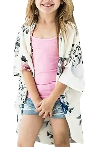 Girls Cardigans Kimono Floral Tops Summer Boho Cute Loose Cover Up Blouses White