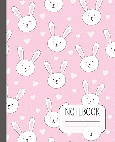 Notebook: Lined Notebook for Girls with Cute Pink Bunny Design