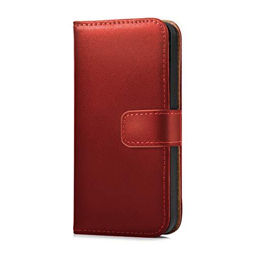 KawKaw Funda de piel auténtica para Samsung Galaxy Case Funda plegable con soporte integrado para smartphone S6 Edge S7 S7 Edge S8 S8+ S9 S9+ (S6 Edge, rojo)