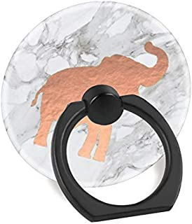Cell Phone Finger Ring Holder Stand Car Mount Works for iPhone 5 6 7 8 X Plus Samsung Galaxy S8 S9 Ipad-Cute Rose Gold Elephant on White Marble