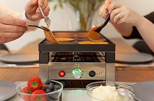 Solis 5 in 1 Table Grill 791 Parrilla Electrica de Mesa - Plancha Electrica para Cocinar - 1400W - Apto para Barbacoa - Raclette - Wok - Crêpes - Pizza - Hasta 8 Personas