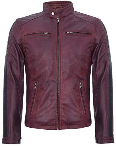 Infinity Leather Chaqueta de Cuero Burdeos Borgoña para Hombre Vendimia Carreras con Cremallera Motorista