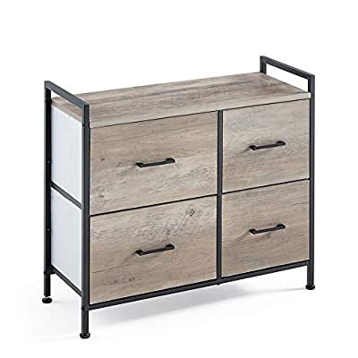 Linsy Home Drawer Dresser,Industrial Wide Storage Tower with 4 Fabric Drawer,Wood Top and Front, Metal Frame for Living Room, Bedroom, Hallway, Nursery, LS200E3-A