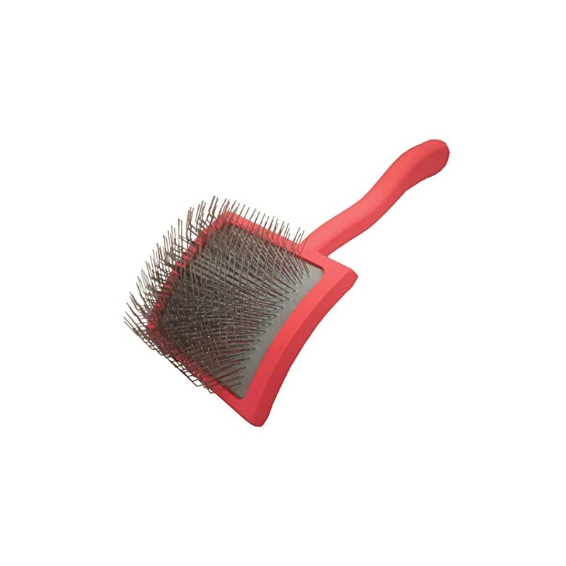 dog supplies online chris christensen big g dog slicker brush for grooming, groomgrip coating, large, coral