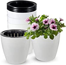 Self Watering Planter, ZOUTOG 6.5 inch African Violet Pots, White Flower Plant Pot for Various Plants / Flowers / Herbs, Pack of 6