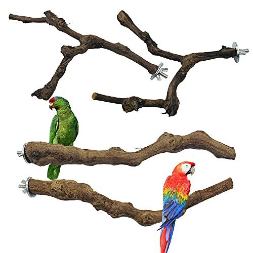 Allazone 4 Pz Perca de Pájaro, Pájaro de Madera Soporte de Perca, Palo de Uva Salvaje Natural, Juguetes para Pajaros Juguetes para Masticar Loros para Masticar Loros, Periquitos, Cacatúas