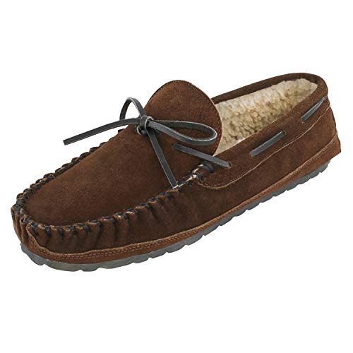 Minnetonka Men's Casey Slipper,Chocolate Suede,10 M US