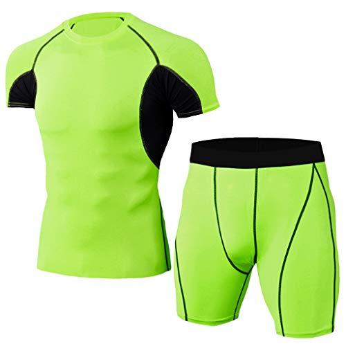 Yowablo Herren Fitness T-Shirt Radfahren Jerseys Kompressionsshirt Base Layer Pants Set Elastic Fitness T-Shirt Fast Drying Tops Kurze Hose Sport Enger Anzug (XXL,2Minzgrün)